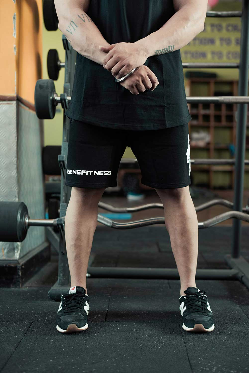 Brand Ambassador Bodybuilding Champion Nitin Sharma in InGene Fitness Black Signature Black Shorts