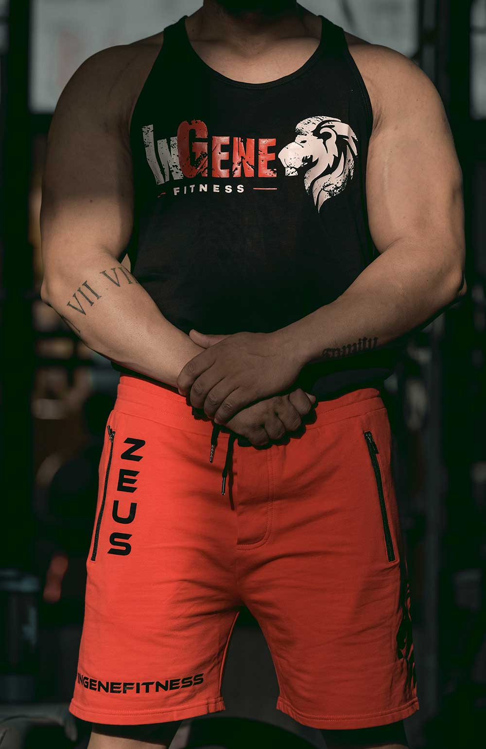 Brand Ambassador Bodybuilding Champion Nitin Sharma in InGene Fitness Black Signature Red Shorts