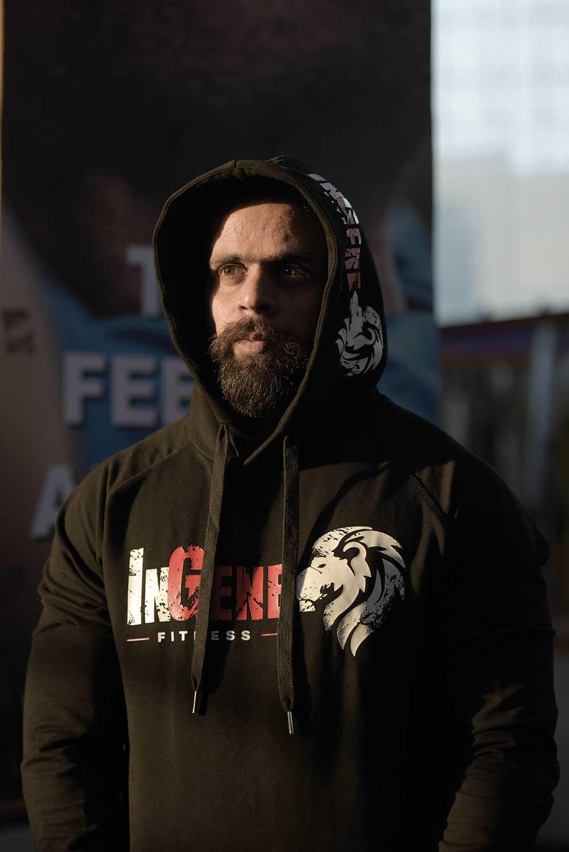 Brand Ambassador Bodybuilding Champion Nitin Sharma in InGene Fitness Hoodie