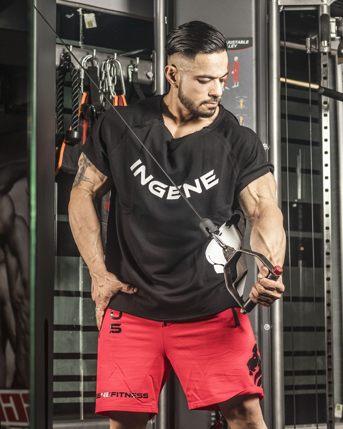 Powerlifting Rag Top – Black, InGene Gym Short – Red